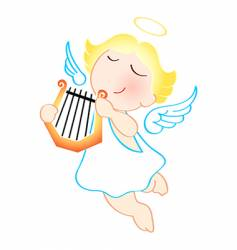 Angel with harp vector