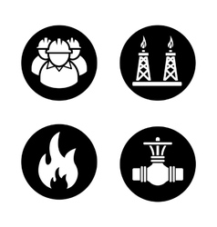 Gas industry black icons set vector