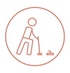 Curling line icon vector