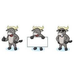 Buffalo gray mascot happy vector