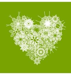 White floral heart shape vector