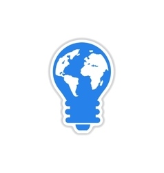 Paper sticker on white background bulb earth vector