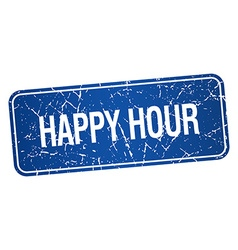 Happy hour blue square grunge textured isolated vector