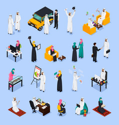 Arab people isometric set vector