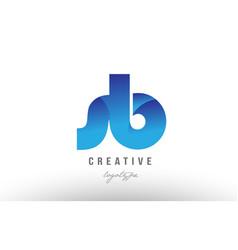 Blue gradient sb s b alphabet letter logo vector