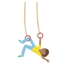 Boy Doing Exercises On Hanging Rings vector image