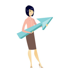 Business woman with growth graph vector