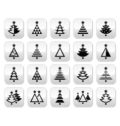 Christmas tree - various types buttons set vector image vector image