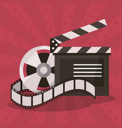 colorful background with film reel and vector image