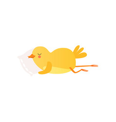 Cute baby chicken sleeoing on pillow funny vector