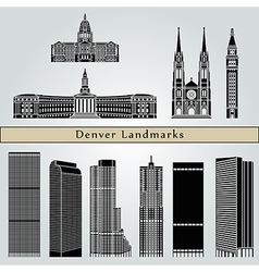 Denver landmarks and monuments vector
