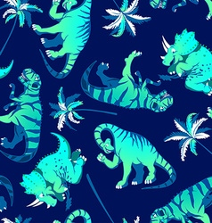 Dinosaurs with palm trees in a seamless pattern vector image