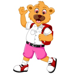 Funny bear cartoon go to school vector