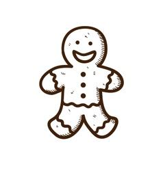 Gingerbread cookie man vector image vector image