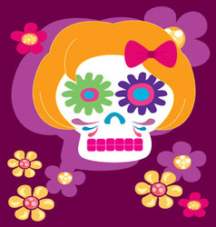 Girl skulll with flowers vector
