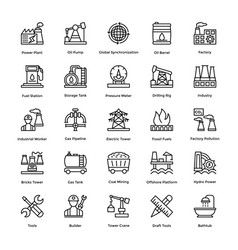 Industrial and construction line icon set 1 vector
