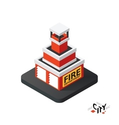 Isometric fire department icon building city vector