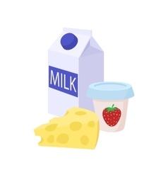 Milk cheese and yogurt icon cartoon style vector image