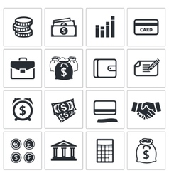 Money finance icons collection vector image vector image