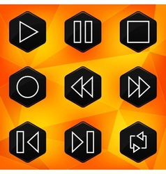 Player Hexagonal icons set on abstract orange vector image vector image