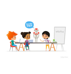 smiling children sitting at laptops around smart vector image vector image