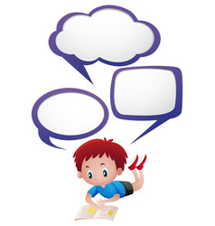 speech bubbles template with litter boy reading vector image