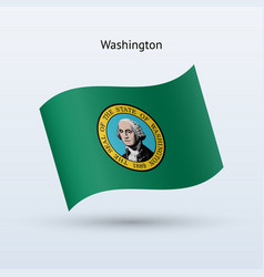 state of washington flag waving form vector image vector image