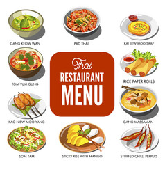 Thai cuisine food traditional dish icons vector