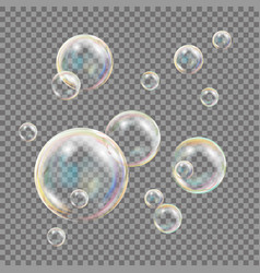 transparent soap bubbles colorful falling vector image vector image