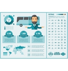 Transportation flat design Infographic Template vector image