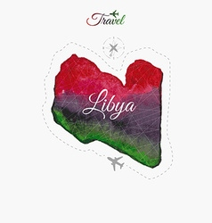 Travel around the world lybia watercolor map vector