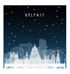 winter night in belfast night city in flat style vector image vector image