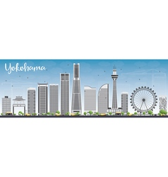 Yokohama skyline with gray buildings vector
