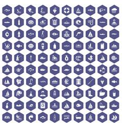 100 water icons hexagon purple vector