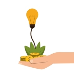 Shelter hand with plant money lightbulb idea icon vector