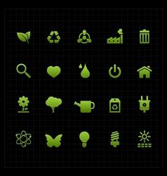 Green eco icon set icon black background vector image