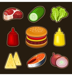Burger icons set vector