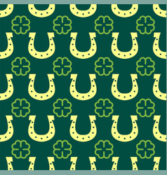 good luck seamless pattern horseshoe clover vector image