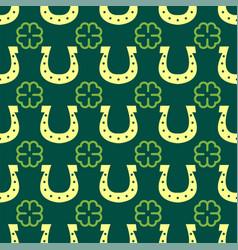 Good luck seamless pattern horseshoe clover vector