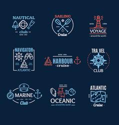Nautical emblem badges or labels line art set vector