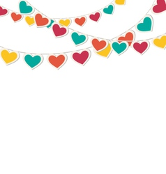 Multicolored hearts buntings garlands isolated on vector