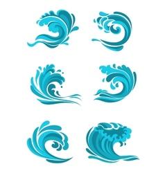 Curling sea and ocean blue waves vector image