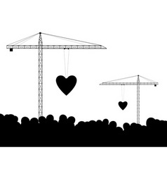 vector crane with hearts isolated on the white vector image