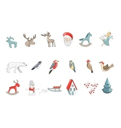 Set of different vintage christmas decorations vector