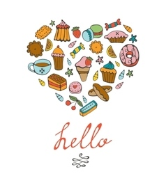 Hello card with hand drawn desserts composed in a vector image