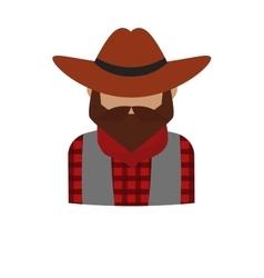 Bearded dangerous criminal man cartoon character vector image