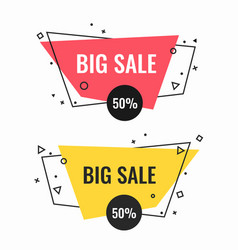 Big sale bright isolated promotional emblems set vector