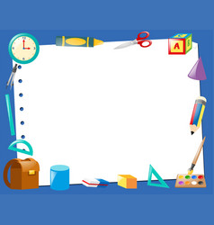 Border template with school items vector