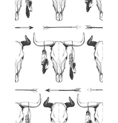 Bull skull seamless pattern vector
