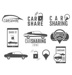 Car share logo designs set sharing vector